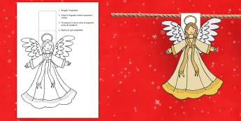 Angioletto natalizio Le bandierine - natalizio, decorazione, albero, di, natale, colorare, italiano, italian, materiale, scolastico