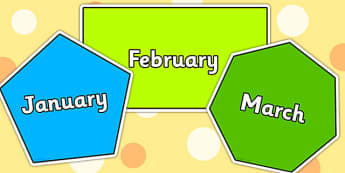 Months of the Year on 2D Shapes - months, 2D, shapes, 2D shapes