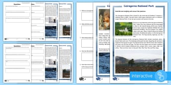 Cairngorms National Park Differentiated Comprehension Go Respond  Activity Sheets-Scottish - CfE, Scotland, Scottish, geography, highlands, mountains, physical features, landscape, environment,