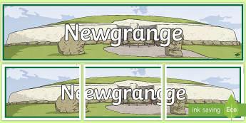 Newgrange Display Banner-Irish - ROI Places of Interest, tourism, history, geography, ireland, SESE, stone age, newgrange,Irish