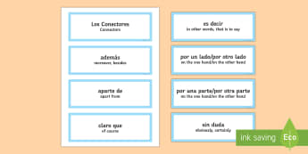 Connectives Word Cards Spanish