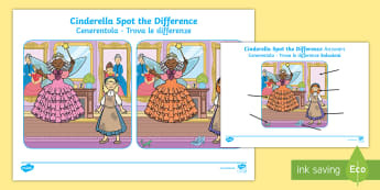 Cinderella Spot the Difference Activity English/Italian  - Cinderella Spot the Difference Activity - spot, difference, game, Cindarella, cinderlla, cindrella,