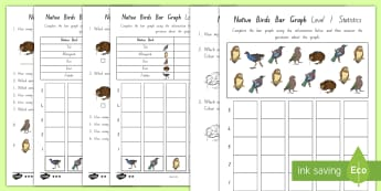Native Birds Bar Graphs Differentiated Activity Sheets - NZ, Statistics, Tally charts, Back to School, Level 1 Maths, Year 1 Maths, Year 2 Maths, Year 3 Math