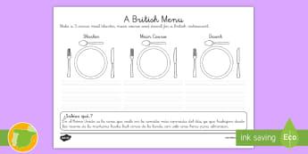 Ficha de actividad: Un menú británico - Inglés  - food, lunch, dinner, lengua extranjera, english, inglés,Spanish-translation