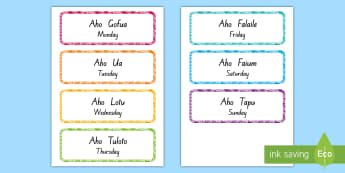 Days of the Week Labels Niuean/English - niue, niuean, niuean language week, days of the week, tau aho