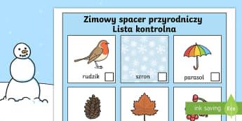 Lista kontrolna Zimowy spacer przyrodniczy - zima, zimowy, spacer, wycieczka, przyroda, przyrodniczy, lista, kontrolna, odhaczenia, drzewo, lód,
