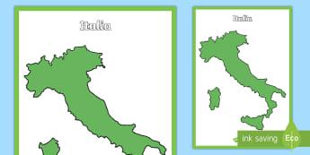 Mappa dell'Italia vuota Poster - geografia, italiana, penisola, elementari, italiano, italian, materiale, scolastico