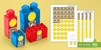 * NEW * Pirate Treasure Counting Connecting Bricks Game - English / Spanish - EYFS, Early Years, KS1, Connecting Bricks Resources, duplo, lego, plastic bricks, building bricks, M