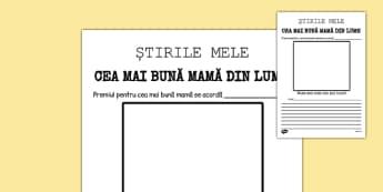 Cea mai bună mamă din lume! - Pagină de ziar - cea mai bună mamă, pagină de ziar, 8 Martie, ziua mamei, cadru de scriere, materiale, materiale didactice, română, romana, material, material didactic
