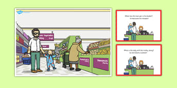 Supermarket Scene and Question Cards Polish Translation - polish, supermarket, scene, cards