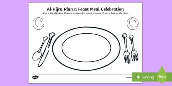 AL-Hijra Plan a Feast Meal Celebration Activity Sheet - Fasting, Fast, Islamic, Strong Willed, Sunset, worksheet, muslim, islam,