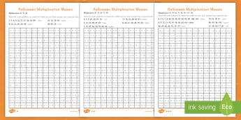 Halloween Multiplication Differentiated Activity Sheets - color, multiplication, Halloween, mosaic