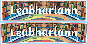 Leabharlann Library Display Banner - Irish