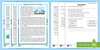 Sydney Harbour Bridge Differentiated Reading Comprehension Activity - Reading groups, guided reading, australian landmark, Literacy, New South wales,Australia
