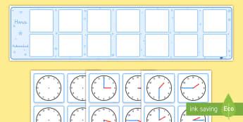 Calendario de exposición: Horario visual con relojes - agenda, diario, horario, hora, horas, tiempo, reloj, relojes, minuto, visual, exponer, exposición,