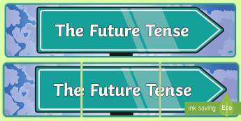 Future Tense Display Banner - spag, tenses, verbs, eal, esl, grammar
