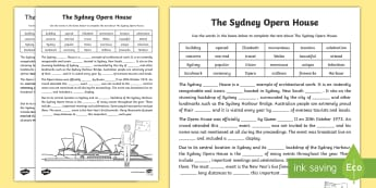 Sydney Opera House Cloze Activity Sheet - Comprehension, Guided Reading, Australian landmark, australian geography, reading groups, worksheet