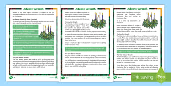 KS1 Advent Wreath Differentiated Fact File - guided reading, christmas, reading comprehension, non fiction text, festivals and celebrations