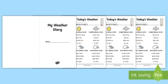 Weather Diary Activity Booklet - KS1 Geography, Australia Geography, KS1 Australia Geography, Year One Australia Geography, Year One