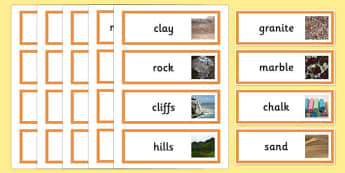 Rocks and Soils Topic Word Cards - rocks, stone, rocks and soils, soil, topic cards, word cards, flash cards, topic , geography, granite, marble, sand, chalk, clay, did you know, rock types, igneous, metamorphic, sedimentary