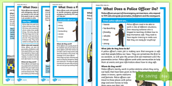 What Does A Police Officer Do? Differentiated Fact File