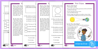 Solar Eclipse Differentiated Comprehension Go Respond Worksheet / Activity Sheets - Solar Eclipse, solar eclipse 2017, earth moon and sun, solar eclipse science