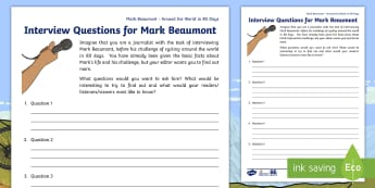 KS2 Around the World in 80 Days Mark Beaumont Interview Questions - Around the World in 80 Days, Mark Beaumont, personal goal setting, cycling, worksheet