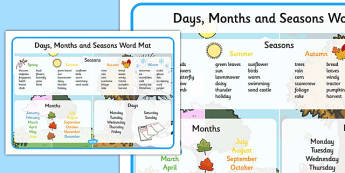 Days, Months and Seasons Word Mat - days, months, seasons, word mat