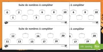 Feuille d'activités avec nombres manquants jusqu'à 20 : Les chaudrons - Sorcier, Sorcière, Halloween, mathématiques,Numération, suites organisées, Cycle 1, Cycle 2
