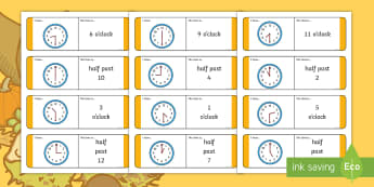 Early Level Autumn Themed Time Loop Cards - time, half past, o'clock, Autumn, telling the time, Classroom games,,Scottish
