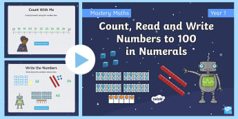 Year 1 Count Read and Write Numbers Maths Mastery PowerPoint - depth, shanghai, singapore, reason, discuss, patterns, numicon, ten frame, pictorial, concrete, dien