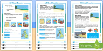 KS1 All about Beaches Differentiated Reading Comprehension Activity - seaside, habitat, holiday, Creatures, Sand