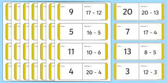 Subtraction to 20 Loop Cards