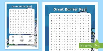 Great Barrier Reef Word Search - Australian ocean, australian beach, Australian geography, australian landmark, vocabulary, literacy,