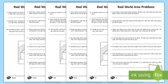 Real World Area Problems Differentiated Worksheet / Activity Sheets  - real world problems, problem solving, area, differentiation, measurement