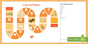 Easter Picture Board Game French - KS3 French Easter board game Pâques vocabulary,French