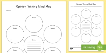 Opinion Writing Mind Map Activity Sheet - Opinion, w3.1, informational text, argument, persuade, planning, work on writing, writer's workshop