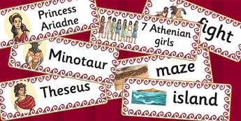 Theseus and the Minotaur Word Cards - theseus, minotaur, cards