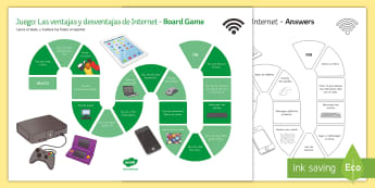 New Technologies Advantages and Disadvantages of the Internet Board Game Spanish - KS4, Spanish, New Technologies, everyday, life, ordenador, movil, teléfono, tableta, portatil, vide