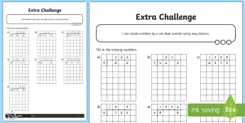 Missing Number Short Division Activity Sheet - Addition, Subtraction, Multiplication and Division, short division, divide, worksheet, formal writte