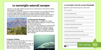 Le Meraviglie Naturali Europee Lettura Comprensiva - lettura, comprensiva, domande, risposte, testo, geografia, europa, vesuvio, reno, monte olimpo, ital