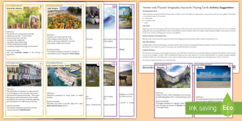 Human and Physical Geography Keywords Playing Cards Activity Pack - teaching ideas, team work, extension, homework, research, revision, individual tasks