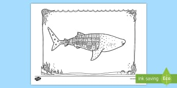 Whale Shark Mindfulness Colouring Page - New Zealand Mindfulness, whale shark, whale, shark, colouring, mindfull
