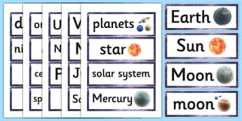 Year 5 Science Earth and Space Word Cards - word cards, science