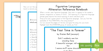 Figurative Language and Alliteration Activity Sheets - alliteration, figurative language, English, grammar, sentence, writing