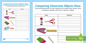 Comparing Classroom Objects Mass Activity Sheet - Mathematics, Foundation Year, Measurement and Geometry, Using units of measurement, ACMMG006, heavie