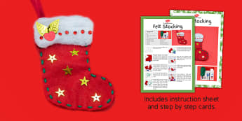 Felt Stocking Christmas Craft Instructions - christmas, stocking, craft