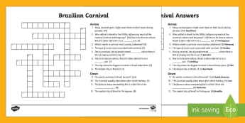 Brazilian Carnival Crossword - crossword, KS2, KS1, Brazil, carnival, activity sheet, worksheet