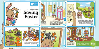 Saving Easter Story - Easter, eggs, egg, bunny, Easter bunny, chick, chicks, chickens, letter, strike, holiday, paint, pai