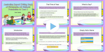 Australian Report Writing Bank of Statements Foundation to Year 6 Guidance PowerPoint - australia, australian, report, writing, bank, reports, comments, bank, report writing, end of year,